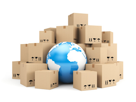 distributor: Global delivery. Heap of cardboard boxes Stock Photo