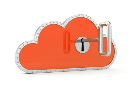 Cloud and key. Secure metaphor. photo