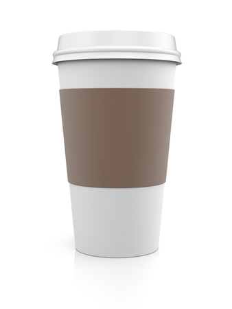 latte: Coffee in thermo cup.  Take-out coffee