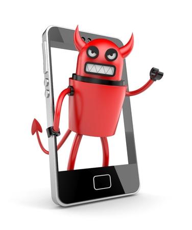 3D robot devil with smartphone photo