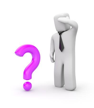questionail: Concepto de negocio. Aislado en blanco