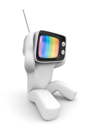 TV head with headaches. Isolated on white photo