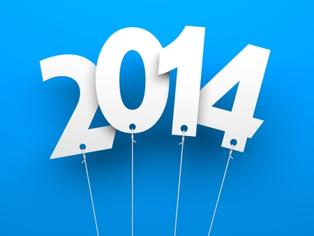 White tags with 2014 on blue background photo