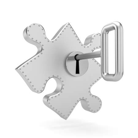 jig saw: Steel puzzle with key. Security metaphor