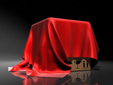 Box couvert d'un chiffon de soie rouge. Fond