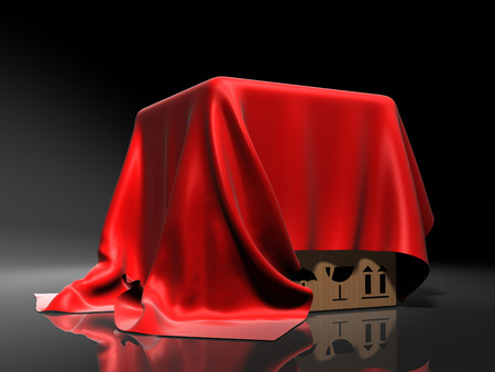 Box covered a red silk cloth. Background Stockfoto