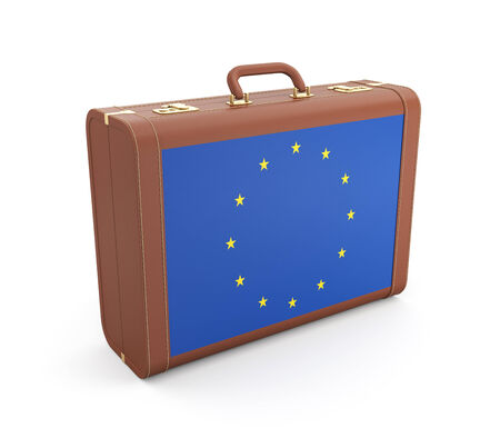 eur: Suitcase with Europe flag