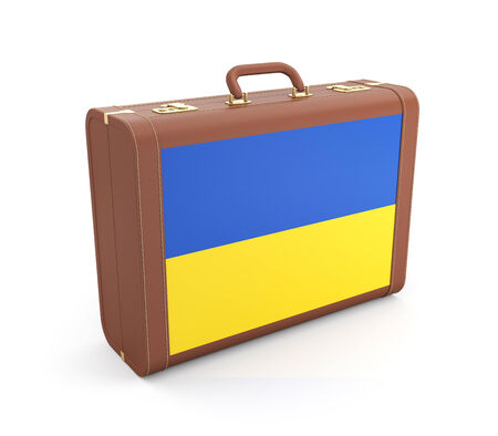 rada: Suitcase with Ukrainian flag