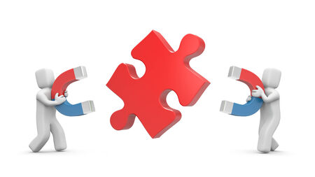 polarize: Challenge metaphor  Isolated on white Stock Photo