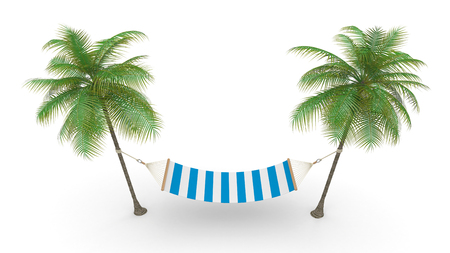 Two palm and hammock  Symbol of rest photo