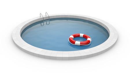 Pool with lifebuoy photo