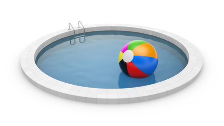 poolside: Pool with toy ball Stock Photo