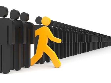 Verschillende mensen Ren naar nieuwe kansen Geïsoleerd op wit Stockfoto