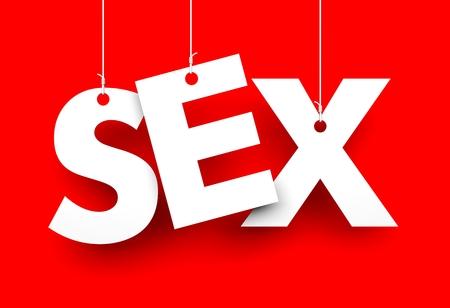 sex education: Sex  Letters on strings  Conceptual 3d image