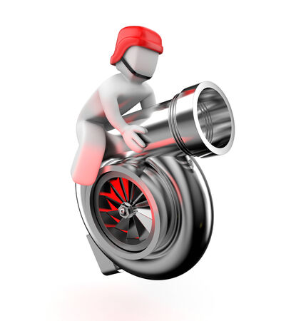 turbocharger: Turbocharger with driver. Isolated on white