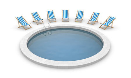3d swimming pool: Swimming pool and deck chairs