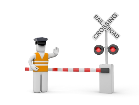 rail cross: Railroad crossing with worker Stock Photo