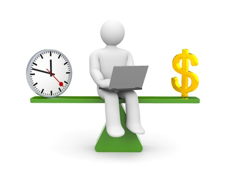 time line: White character between time and money Stock Photo