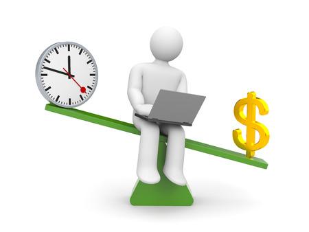 outweighs: Car�cter blanco entre el trabajo y el dinero dinero pesa m�s Foto de archivo