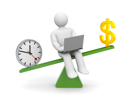 counterpoise: White character between work and money  Work outweighs Stock Photo