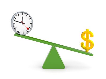 outweighs: El tiempo y el dinero dinero pesa m�s Foto de archivo