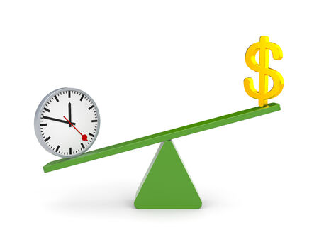 outweighs: Time and money  Time outweighs Stock Photo