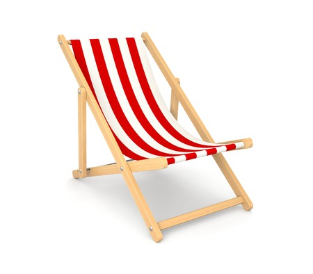 Deck chair  Isolated on white photo