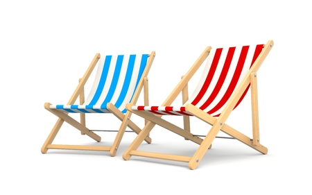 chair wooden: Deck chairs  Isolated on white