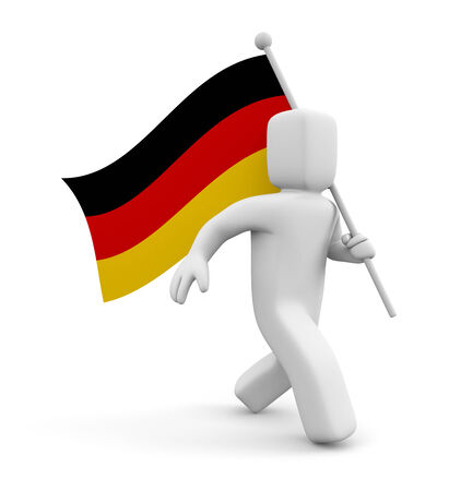 german mark: 3d person with Germany flag
