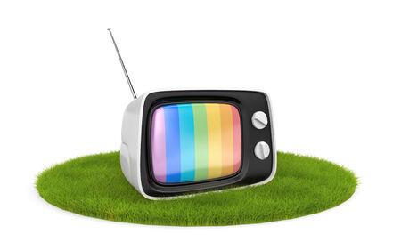 Retro TV sur l'herbe Banque d'images - 31354125