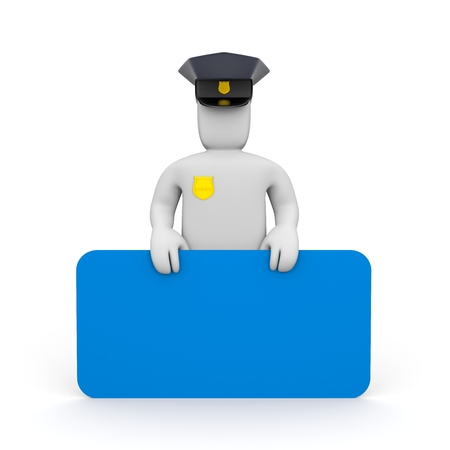 patrolman: Policeman with blue board