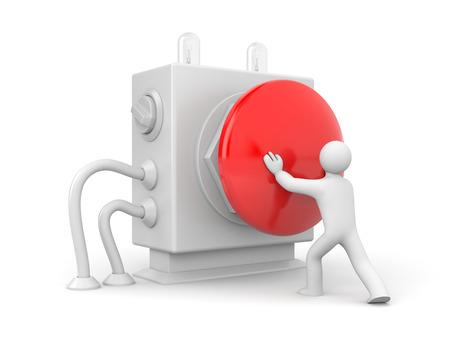 Person pressing stop button photo