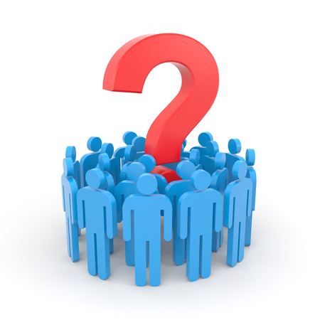 disarray: People with question. Teamwork metaphor Stock Photo