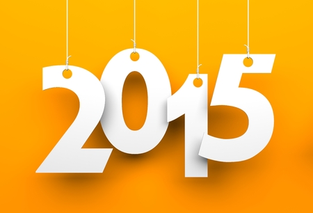 White tags with 2015 on orange background photo