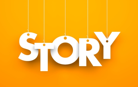 Story. Text on the strings Stock Photo