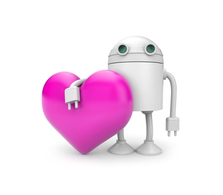 philanthropy: Robot with heart Stock Photo