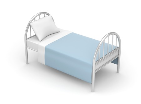 Bed. Simple bed for hotel or hospital photo