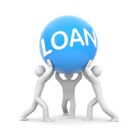 payday: Loan. Teamwork metaphor Stock Photo