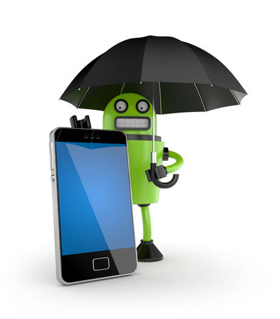 robot with shield: Security of your mobile phone. Electronics and technologies metaphor