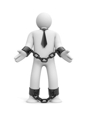Man bound in chains photo