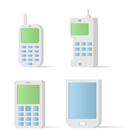 Vector old style mobile devices. Icon set Vector