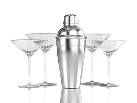 Cocktail shaker with glass photo