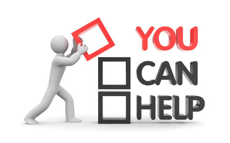 yes you can: You can help concept 3d illustration image Stock Photo