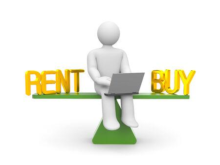 Rent or buy concept 3d illustration image illustration