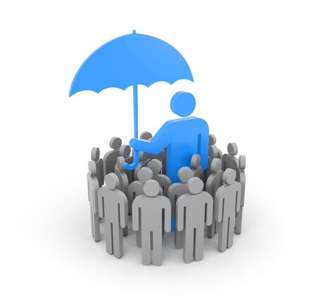 leadership abstract: A man with umbrella, protects a group of people