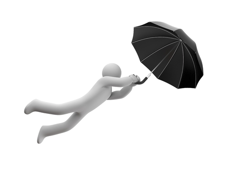 wet flies: Person flying on umbrella. Isolated on white Stock Photo