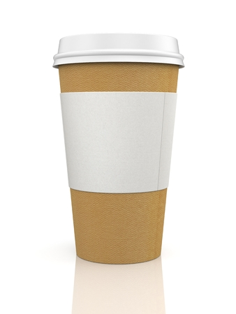 to go cup: Coffee in thermo cup. Isolated on white