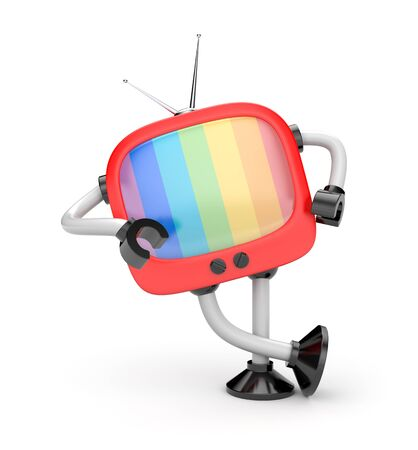 lean machine: Tv robot leaning on an imaginary object Stock Photo