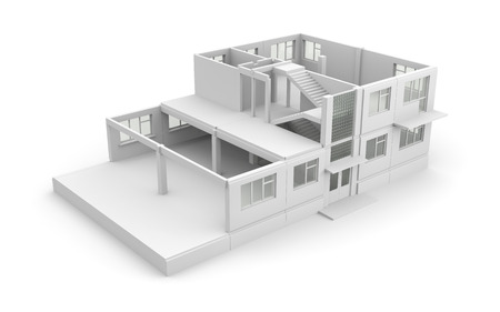unfinished: House construction process. Isolated on white