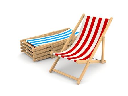 deckchair: Beach Deckchair. Isolated on white